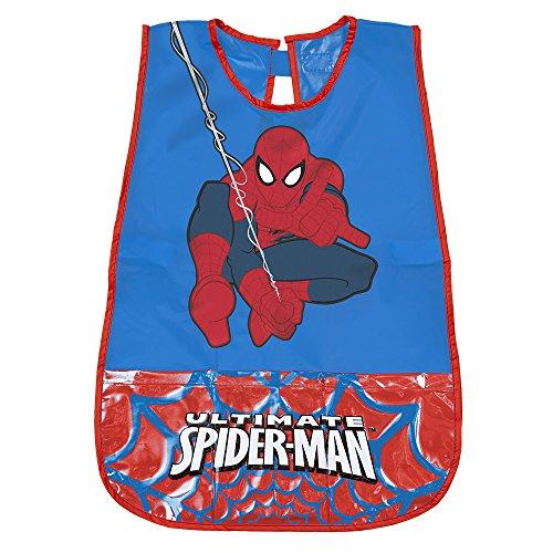 PERLETTI Delantal Infantil Marvel Spiderman - Bata Escolar Impermeable para Niño con Bolsillo Delantero con el Hombre Araña - Ideal para Mantener la Ropa Limpia y Seca - 3-5 Años - Rojo y Azul