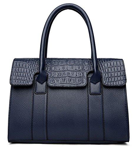Xinmaoyuan Borse donna di colore solido modello di coccodrillo medio madre borsa tracolla Borsa Messenger Tote,blu Blue
