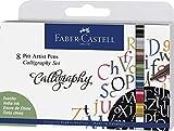 Faber-Castell 167508 Tuschestift Pitt Artist Pen Calligraphy Set, 2,5 mm, 8er Etui, Mehrfarbig
