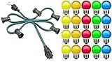 Kalthoff Party 20 Meter mit 20 Fassungen und LED Lampen, Netzstecker und Endstück mit Haken für innen und außen