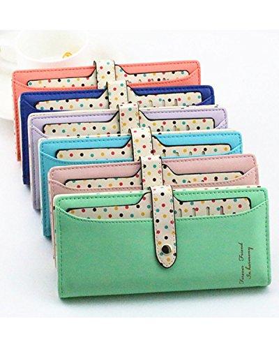 Minetom Donne PU Leather Portafoglio Lungo Zip Pois Porta Monete TitolareDellaCartaPochettePortafoglio Borsetta ( Verde )