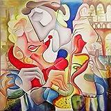 "Pintura Lienzo al Óleo Arte Abstracto Moderno ""AMOR EN VENECIA"" por DOBOS, Cuadro Original para..."