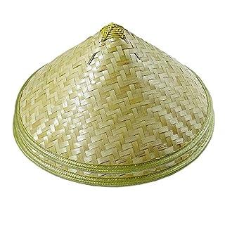 WYZ Packung von 2 traditionellen chinesischen Erwachsenen orientalischen Bambus Stroh Kegel Garten Fischen Hut erwachsenen Reis Hut