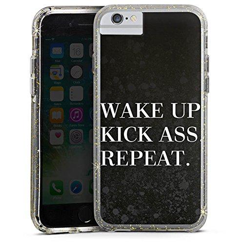 Apple iPhone 8 Bumper Hülle Bumper Case Glitzer Hülle Fitness Motivation Saying Bumper Case Glitzer gold