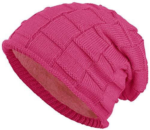 warm gefütterte Beanie mit Teddy-Fleece Wintermütze Flechtmuster Einheitsgröße für Damen & Herren Mütze (Pink)