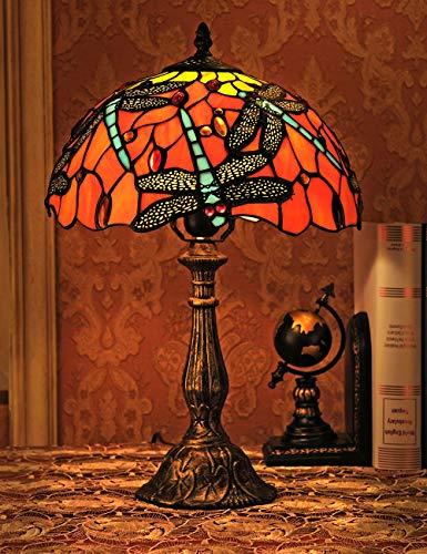12-Zoll-europäischen Vintage-Stil Glasmalerei Libelle und Perle Warm Farbige Serie Tischlampe Schreibtischlampe Nachttischlampe -