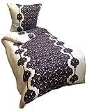 Leonado Vicenti 4 tlg. Thermofleece Bettwäsche 135x200 cm weiß schwarz Ornamente Winter Flausch warm Sparset mit Reißverschluss