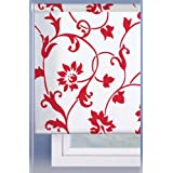 Estor enrollable 100x250cm - Color Blanco con estampado rojo - IDEAL PARA PUERTAS O VENTANALES ALTOS