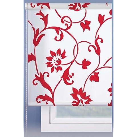 Estor enrollable 100x250cm - Color Blanco con estampado rojo - IDEAL PARA PUERTAS O VENTANALES