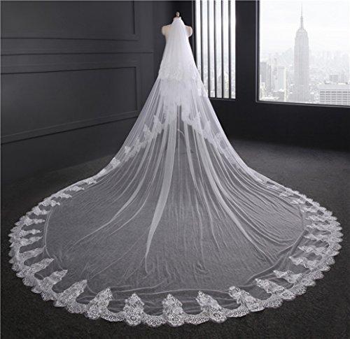 Flower-ager bride veil wedding cathedral 3.5m lungo 3m larghezza 2 tiers veli da sposa in pizzo con pettine,white