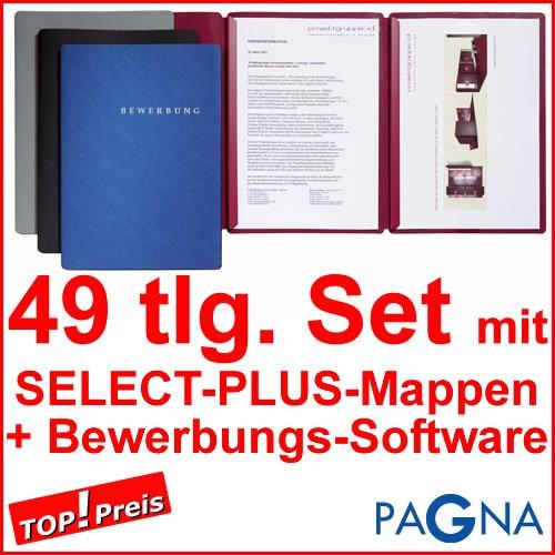 15 dreiteilige Bewerbungsmappen BORDEAUX / ROT + 15 DIN B4 Versandtaschen + 15 Adressetiketten + Etikettenvorlage + Bewerbungssoftware + Extras