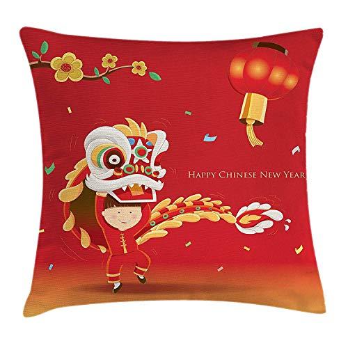 Chinese Lion Dance Kostüm - CVDGSAD Kissenbezug Chinese New Year Dekokissen