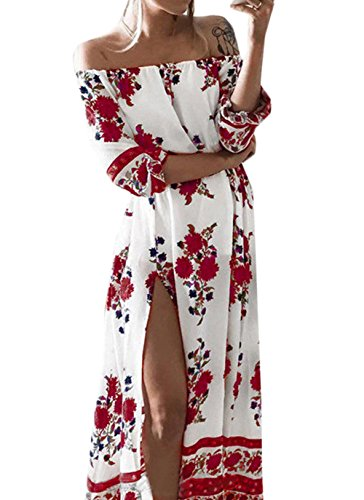 Scothen Sommerkleid Damen V-Ausschnitt Ärmellos Strandkleider Boho Casual Lang Maxikleid Cocktail Beachwear Chiffon Rock Partykleid Cocktailkleid B