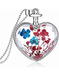 Queen Anne's Lace Forget Me Not Real Dry Flower Heart Glass Bottle Pendant Necklace Gift lPZeb8