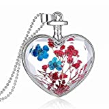Real Dried Flower Heart Locket Glass Bottle Pendant Necklace Jewellery Gift (blue and red)