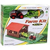 Bighub Die Cast And Plastic Expandable Farm And Vehicle Playset Kit For Children (Tractor And Trailer)