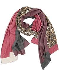 3d4ef32065c651 Trends für Dich Damen Schal mit LEOPARDEN Muster in Color Blocking Look mit  Fransen edel und