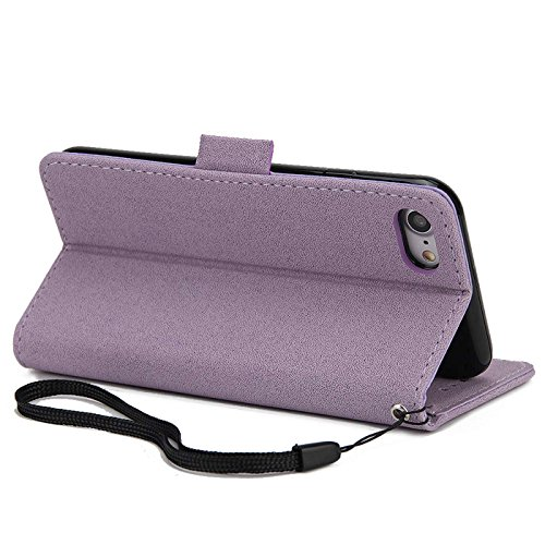 iPhone 6s Plus 5,5Zoll Schutzhülle,iPhone 6 Plus Leder Hülle,TOYYM Ultra Dünn Full Body Protection Flip Leder Wallet Brieftasche Case 3 in 1 Handytasche mit Stand Funktion Kartenfächer Magnetverschlus Lila,Traumfänger
