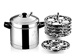 Butterfly Idly Cooker with 6 Plates, 2.01 Litres/21cm, Silver