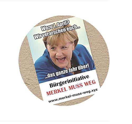 1. April - Merkel muss weg Aufkleber (50 Stück)