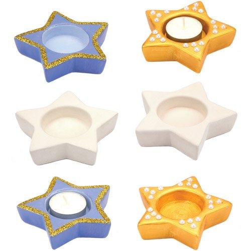 Keramik-Teelichthalter Stern für Kinder als Bastel- und Deko-Idee zu Weihnachten für Jungen und Mädchen (4 Stück)