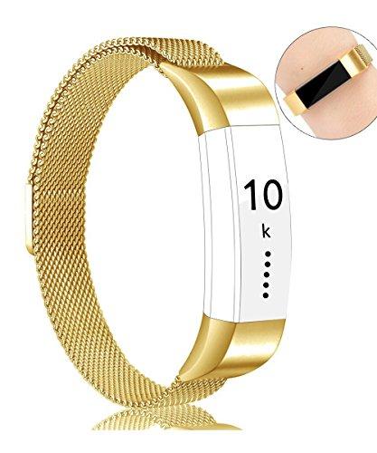 Fitbit Alta HR Armband, Vancle Milanese Edelstahl Uhrenarmband Mailänder Magnetschleife Edelstahlband Ersatz Armband Für Fitbit Alta HR und Alta (Gold, Large)
