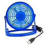 TRIXES Mini Ventola di Raffreddamento da Scrivania Alimentata via USB - Colore Blu - Silenziosa - Portatile - Computer