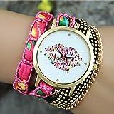Reloj pulsera de reloj de pulsera de labios color de moda de estilo europeo señoras ( Color : Fucsia )