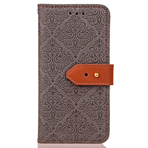 EKINHUI Case Cover European Mural Embossed Style Flip Stand Decke Geldbörse Tasche mit Nivellier Leder Gürtelschnalle für LG Stylus 2 ( Color : Rosegold ) Gray