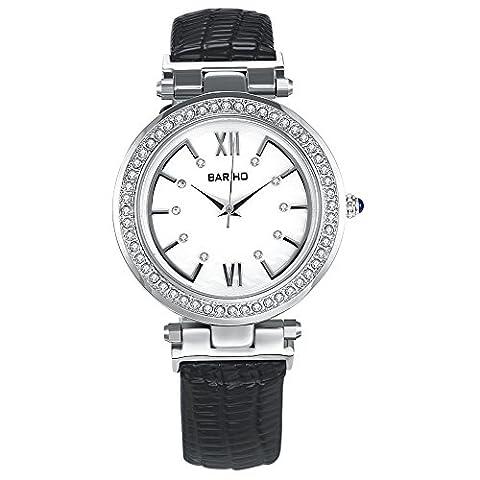 Hongboom Noir véritable de bande de cuir montre bracelet étanche à 30m pour femme décontracté Business Quartz Analogique montre de zircon Fashion Robe Montre-bracelet