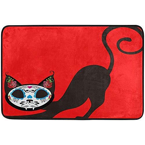 Klotr Fußabtreter, 23.6x15.7 inch Non-Slip Polyester Doormat Sugar Skull Black Cat Washable Entrance Rug for Inside Floor Living Room Toilet Patio Garage -