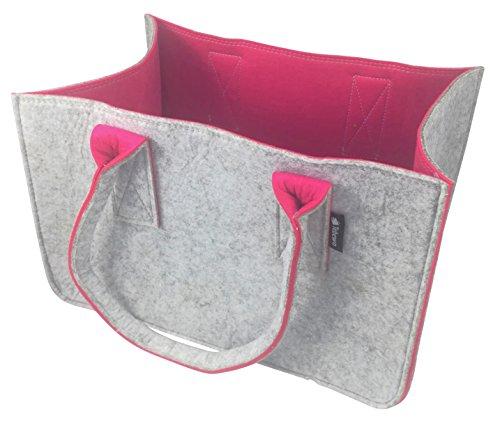 Shopping-Bag aus Filz, große Einkaufs-Tasche mit Henkel, Einkaufskorb, faltbare Kaminholztasche zur Aufbewahrung von Holz, vielseitige Tragetasche zur Spielzeug Aufbewahrung, Farbe grau (grau/magenta)