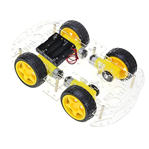 The perseids Intelligente Roboter Auto Fahrgestelle Kits Motor Smart Auto Car Chassis Batterie Box Set Drehzahlgeber fuer DIY Automatische Verfolgung Modell mit Geschwindigkeit Kodierer 1: 48 (4 WD)