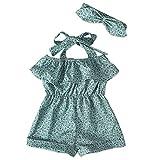 Frühchen Strampler Toddler Straps Off Shoulder Ruffled Floral Print Romper Jumpsuit