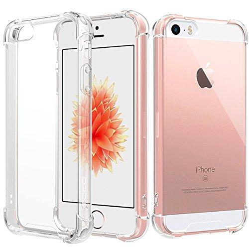 MoKo iPhone SE Hülle,Verstärkte Ecken TPU Stoßpolster + Kratzfeste Hybrid Robuste Transparent Abdeckung für Apple iPhone SE/iPhone 5/iPhone 5S - Crystal Clear