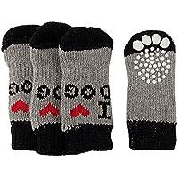 Runfon 4pcs Calcetines de Perro Antideslizantes Calcetines Calientes para Animales de compagnie-9* 4.8cm