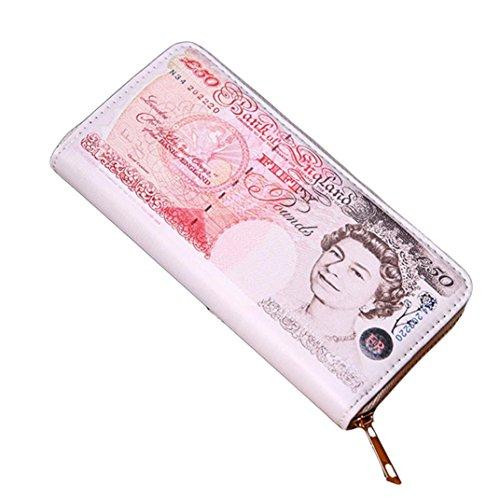Unisex Lang Geldbörse Goosun Männer Währung Grafik Bifold Geschäft Rechteck Klein Leder Brieftasche Reißverschlusstaschen Brieftasche Portemonnaie Geldbeutel Portmonee Wallet (18 * 9 * 3cm, Rot) -