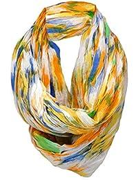 TigerTie plissé Loop Echarpe en orange bleu vert blanc - écharpe tube  écharpe autour - taille 1b7a4105c72
