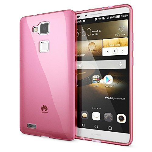 NALIA Handyhülle für Huawei Ascend Mate 7, Ultra-Slim Silikon Case Hülle, Dünne Crystal Schutzhülle, Etui Handy-Tasche Back-Cover Bumper, softe TPU Smart-Phone Gummihülle - Transparent/Pink