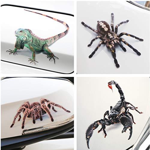 YianBestja 4X Wasserdicht und Sonnenschutz Eidechse Spinne Skorpion Autoaufkleber, Aufkleber für Auto Motorrad Fahrrad Helm Laptop Skateboard Snowboard (4X 3D Tierstil)