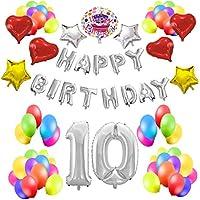 Cotigo - Kit de Globos Cumpleaños HAPPY BIRTHDAY #10 Color Plateado, Año 10