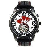 Timest - Love Darts Herrenuhr mit schwarzem Silikonarmband Rund Analog Quarz CSF047CC