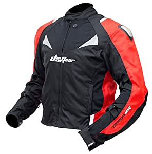 DSG Polyester 600D/3D Air Mesh Genesis Jacket (Black and Red, Large)