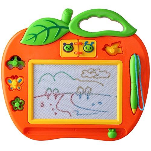 Ardoise-Magique-Petit-Format-avec-Tampons-Jouet-pour-Fille-et-Garon-18-Mois-Tableau-Dessin-Magique-Mini-Couleur-Jeux-pour-Bbs-et-Enfants-2-Ans-Loisir-Cratif-Educatif-Pomme-25cm-X-22cm