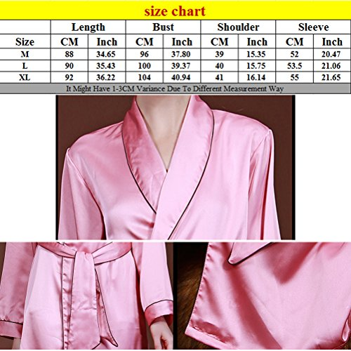 Zhhlaixing Fashion WP002 Womens Silk Kimono Dressing Gown Nightwear Sleepwear Brown