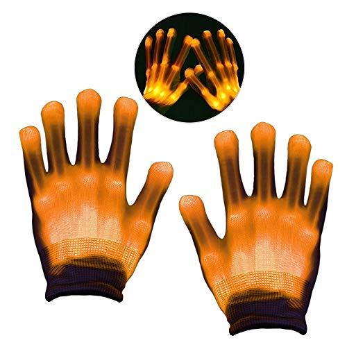 Geschenke für Mädchen ab 3 -12 Jahre, DMbaby Weihnachtsgeschenke für Kinder LED Blinklicht Bunte Rave Handschuhe Gelb G10