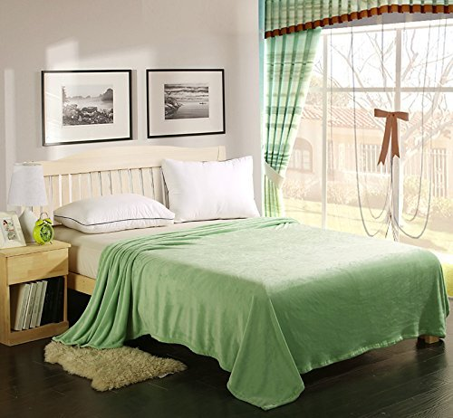 """Manta polar de Coral suave cama Extra ligero engrosamiento de tiro/manta de Color puro verde manzana Talla:Twin(59""""X79"""")"""