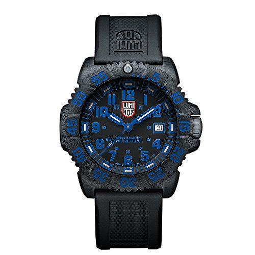 Luminox Navy SEAL Colormark  Men's Quartz watch with Black dial featuring LLT Luminox light Technology 44 millimeters Carbon Compound case and Black PU Strap  XS.3053