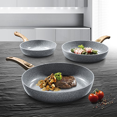 BRATmaxx 02141 Professional Frying Pan Set, 3 Pieces | Run Off Effect | Removable Handle | For all Stove Types | Dishwasher Safe | Stackable