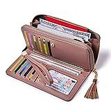 Portafogli Donna Pelle PU Zip Around Bifold Le Signore Borsa Libretto di Assegni Titolare Organizzatore Rosa